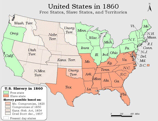 Slave States And Free States Wikipedia Slavery In America - Us slave states map